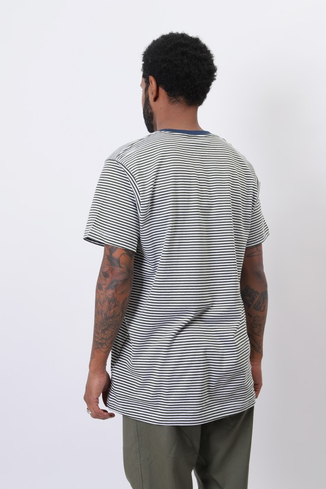 PATTA / City knitted stripe tshirt White rifle green