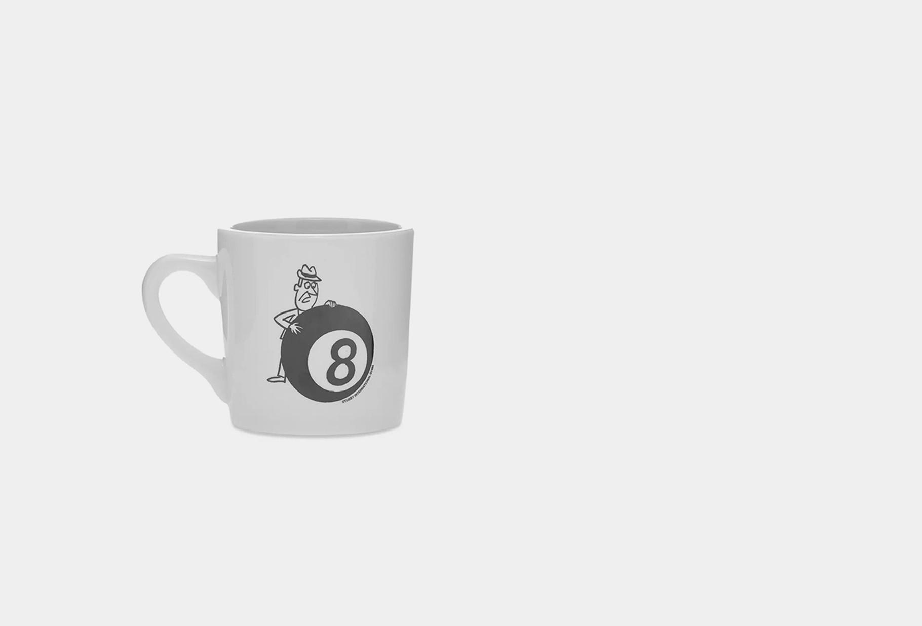 STUSSY / Behind the 8 ball ceramic mug White