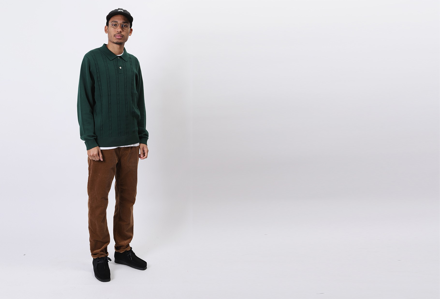 STUSSY / S chain ls knit polo Forest