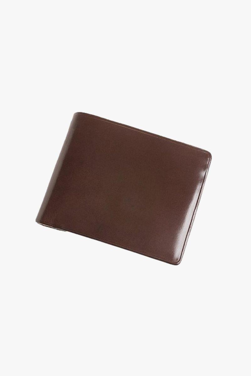 Bi-fold wallet with snap Dark brown