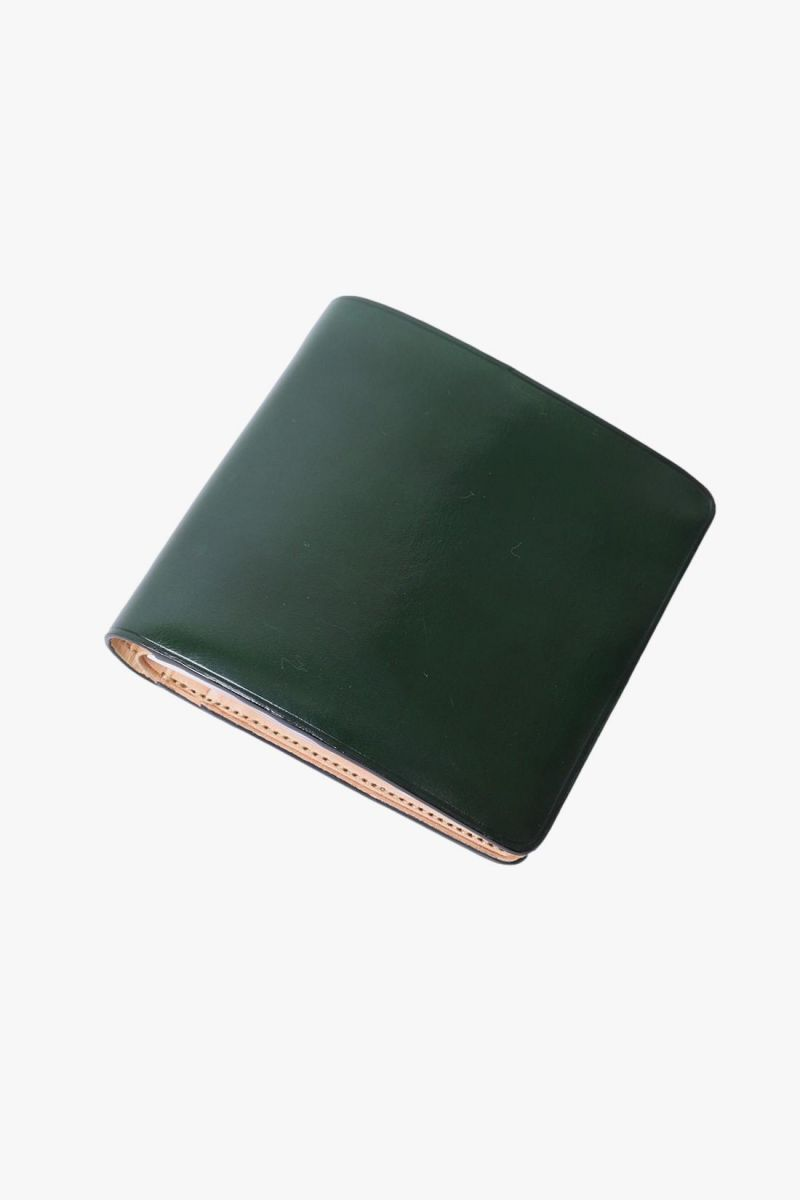 Bi-fold wallet with snap Forest green