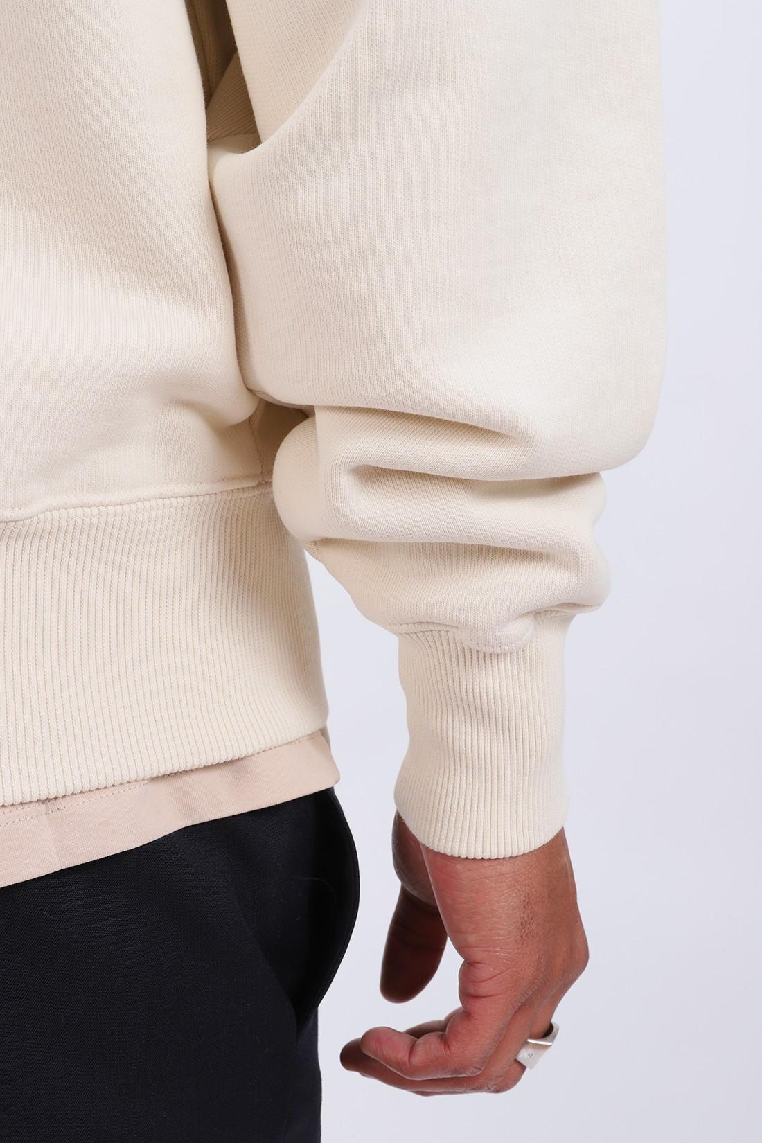 AMI / Sweatshirt col zippe ami de Coeur ecru