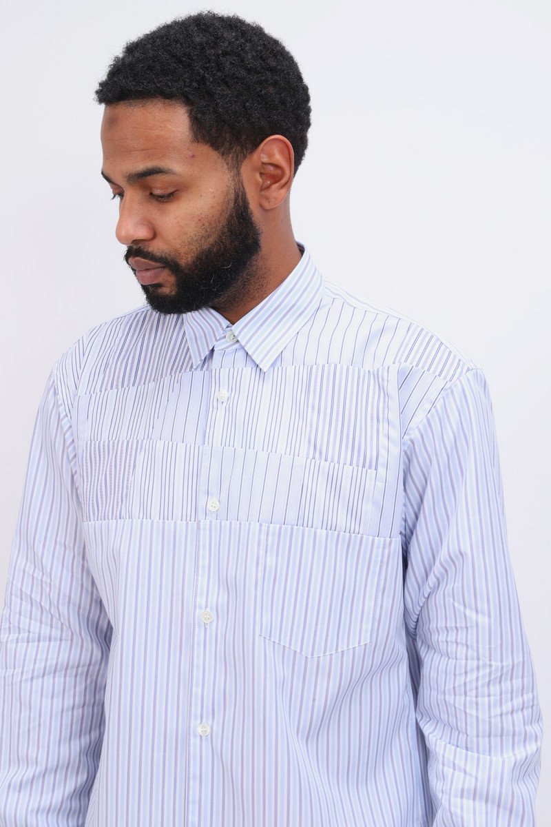Chemise cdg structure patch Stripe blue