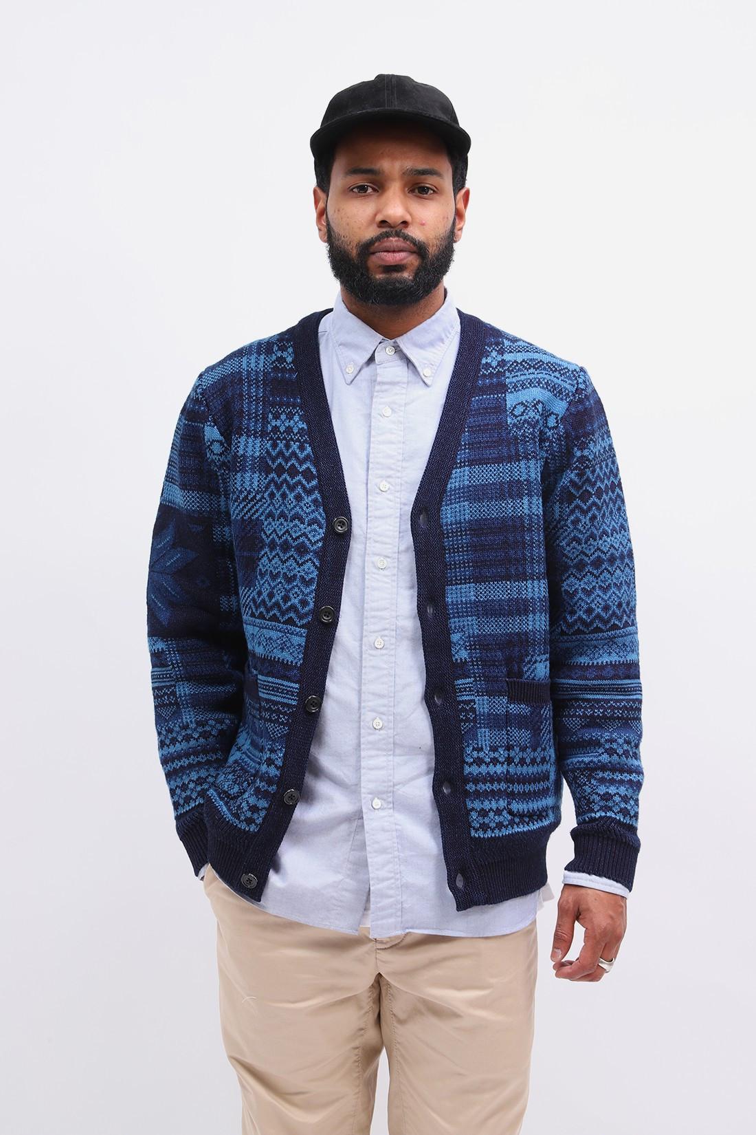 BEAMS PLUS / Cardigan patchwork jacquard Indigo