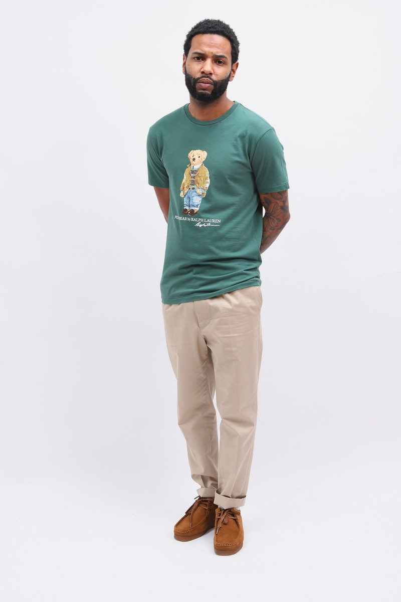 Custom slim fit polo bear tee Green