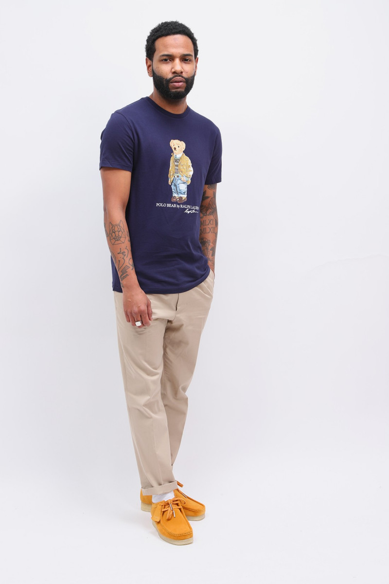Custom slim fit polo bear tee Navy