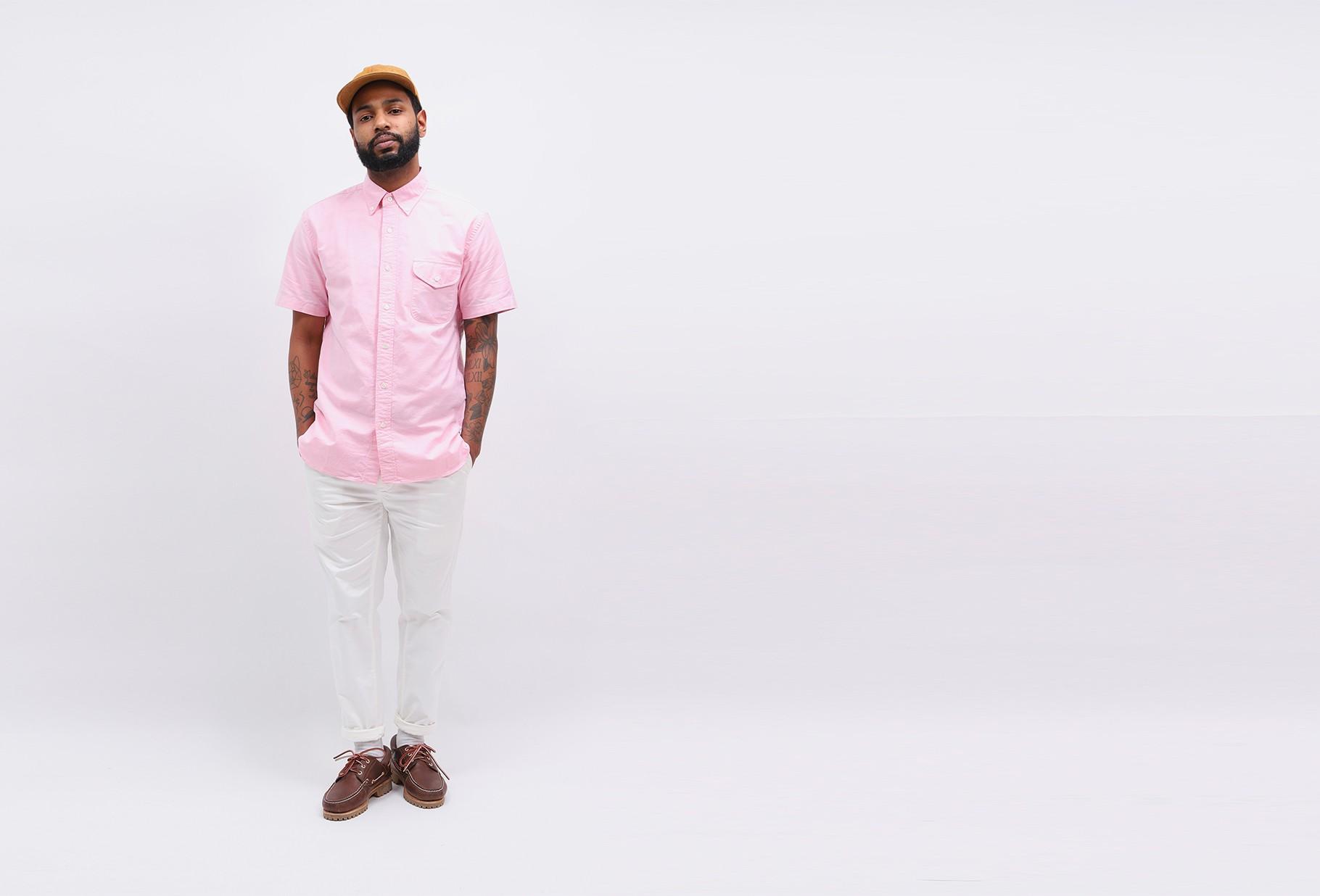 BEAMS PLUS / Short sleeve b.d oxford Pink
