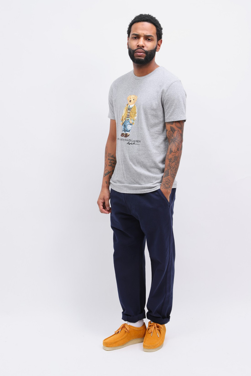 Custom slim fit polo bear tee Grey heather