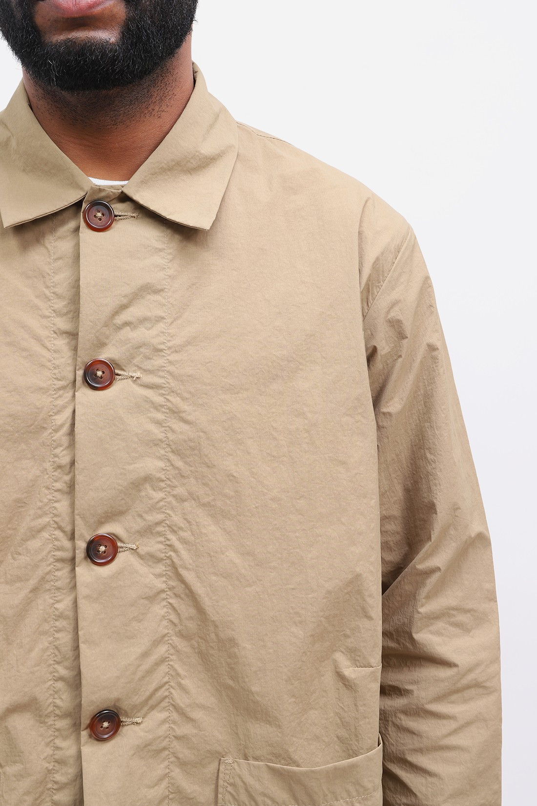 UNIVERSAL WORKS / Travail shirt recycled nylon Sand
