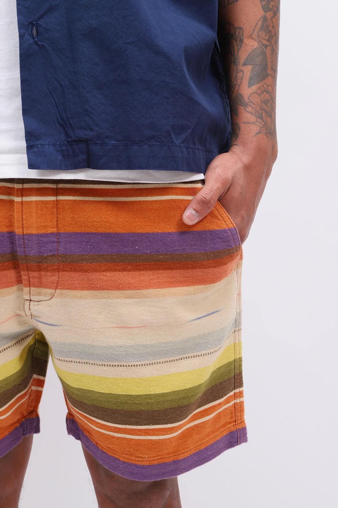 UNIVERSAL WORKS / Track short mex blanket Multi stripe