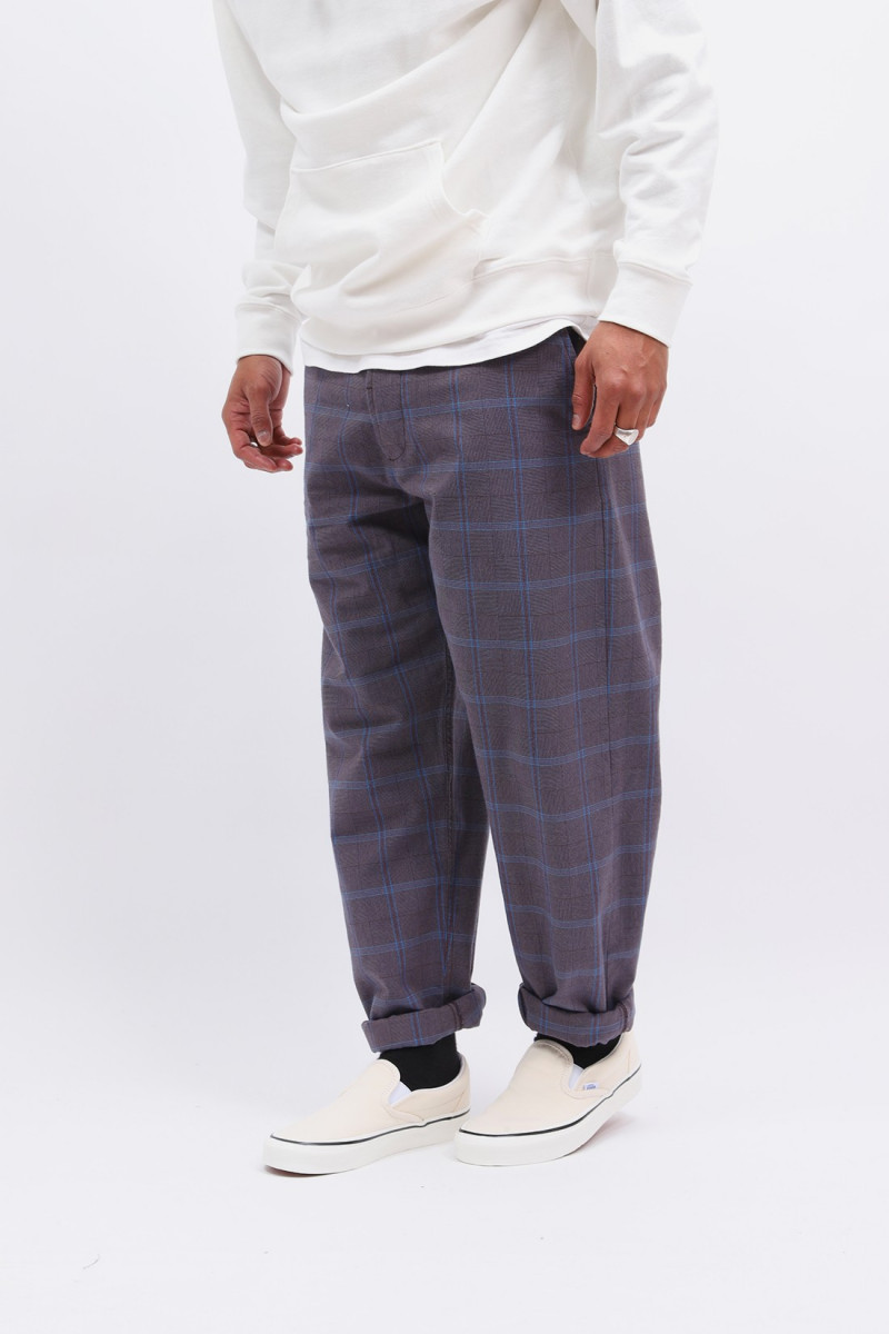 Military chino check suiting Brown