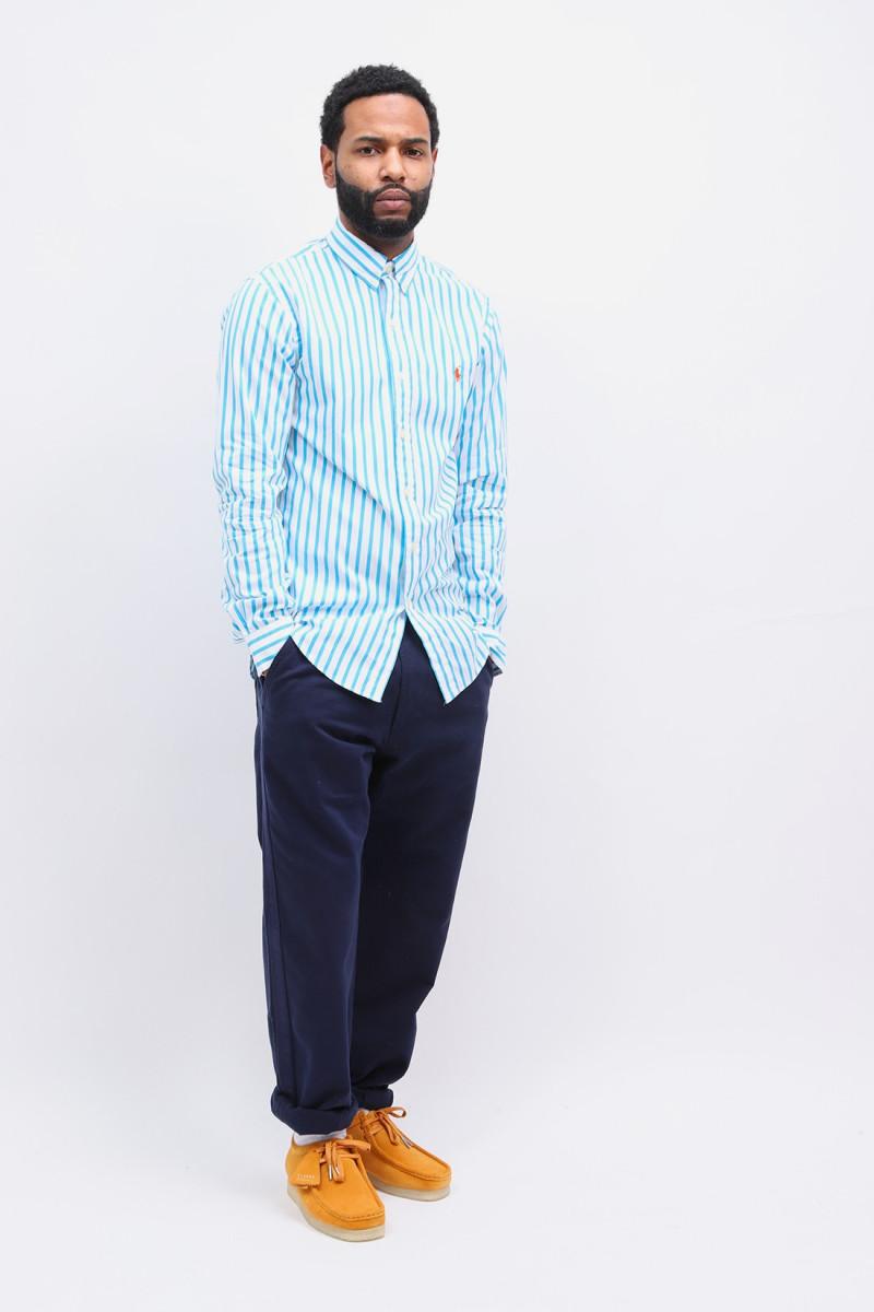 Slim fit poplin stripe shirt Turquoise
