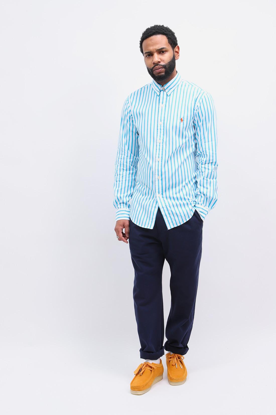 POLO RALPH LAUREN / Slim fit poplin stripe shirt Turquoise