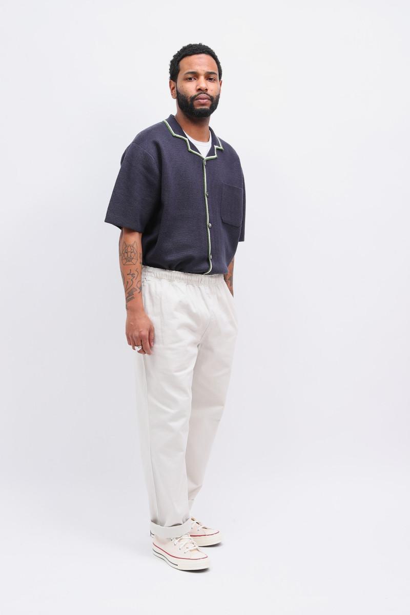 Stripe edge knit shirt Navy