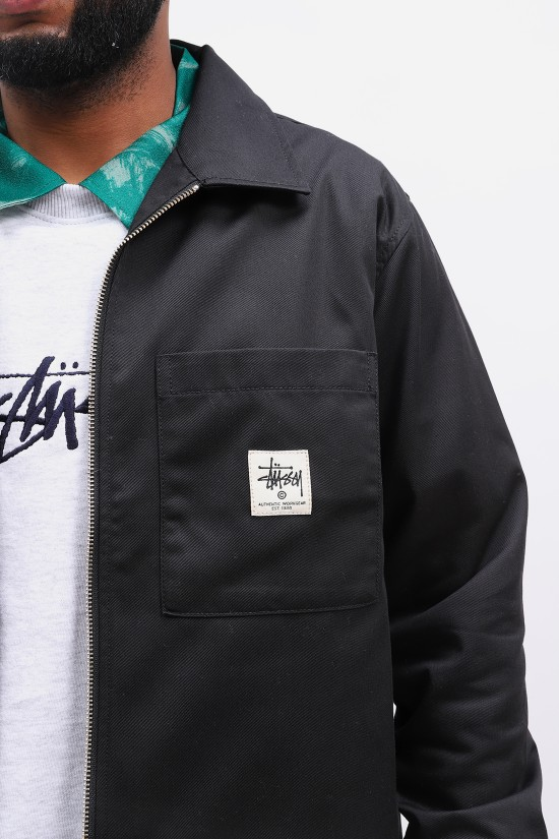STUSSY / Zip up work ls shirt Black
