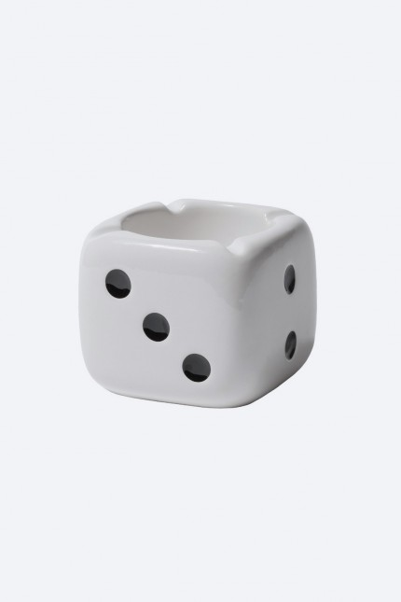 Ceramic dice ashtray White