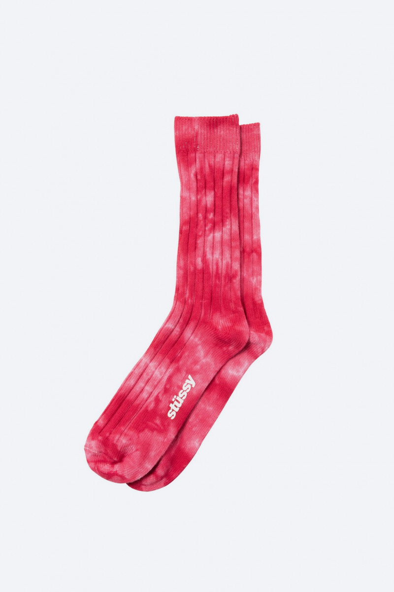 Dyed ribbed crew socks Red