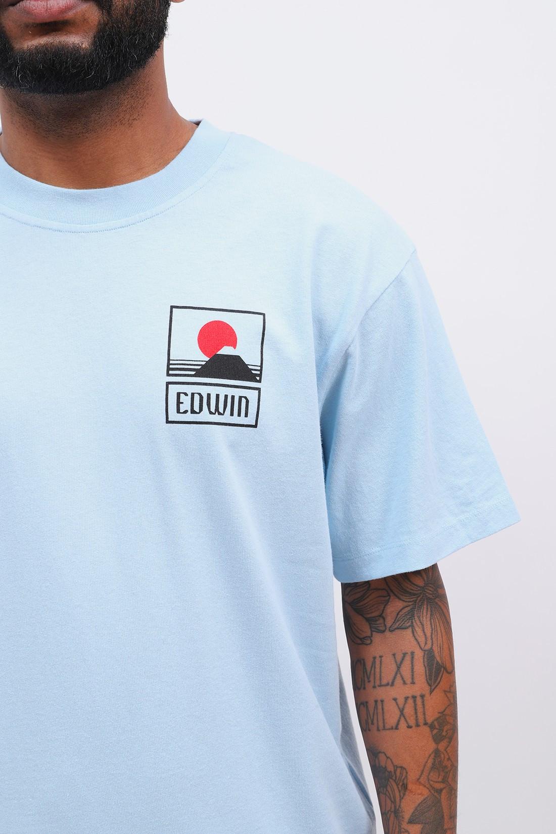 EDWIN / Sunset on mt fuji tee shirt Cerulean