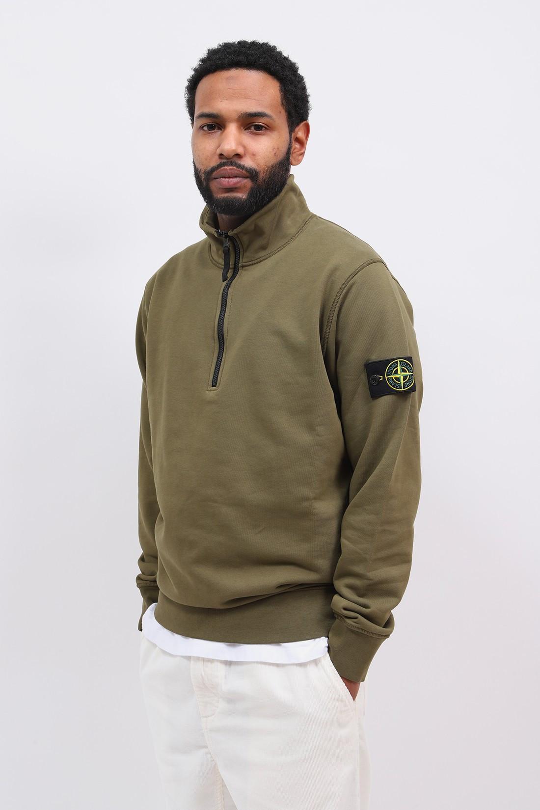 STONE ISLAND / 61951 half zip sweater v0058 Verde oliva