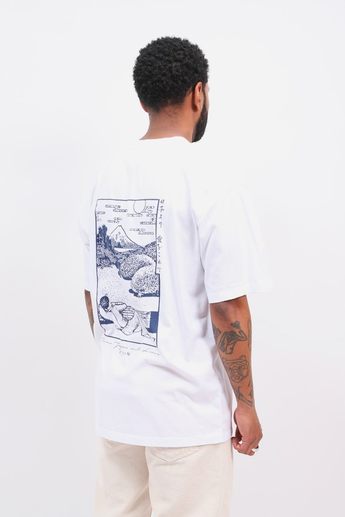 EDWIN / Fuji scenery tee shirt White