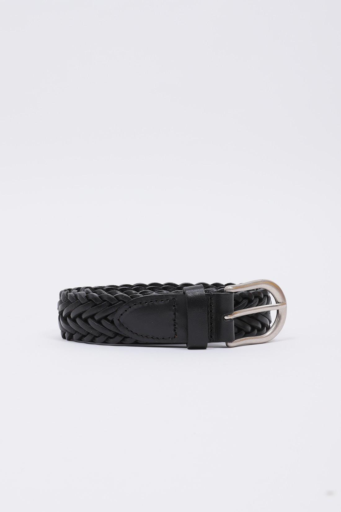 BEAMS PLUS / Leather mesh belt Black