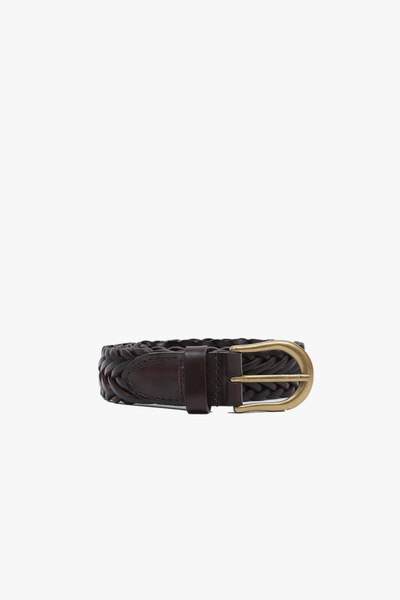 Leather mesh belt Brown