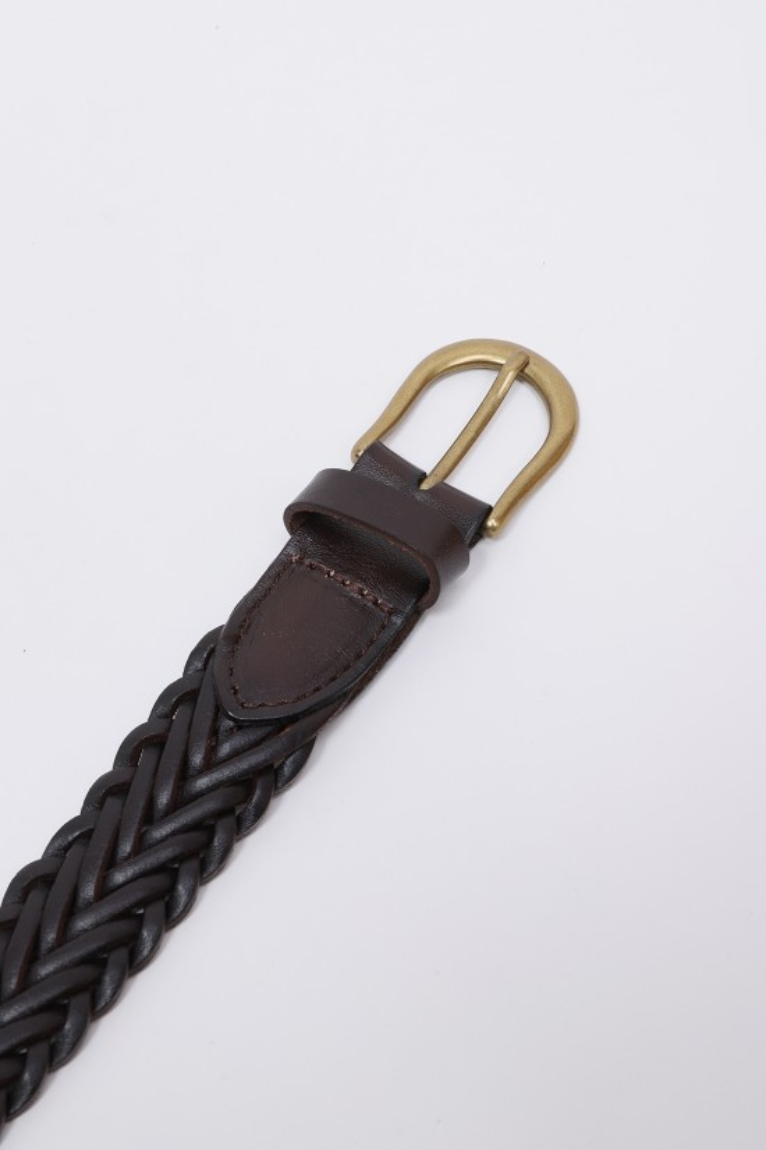 BEAMS PLUS / Leather mesh belt Brown