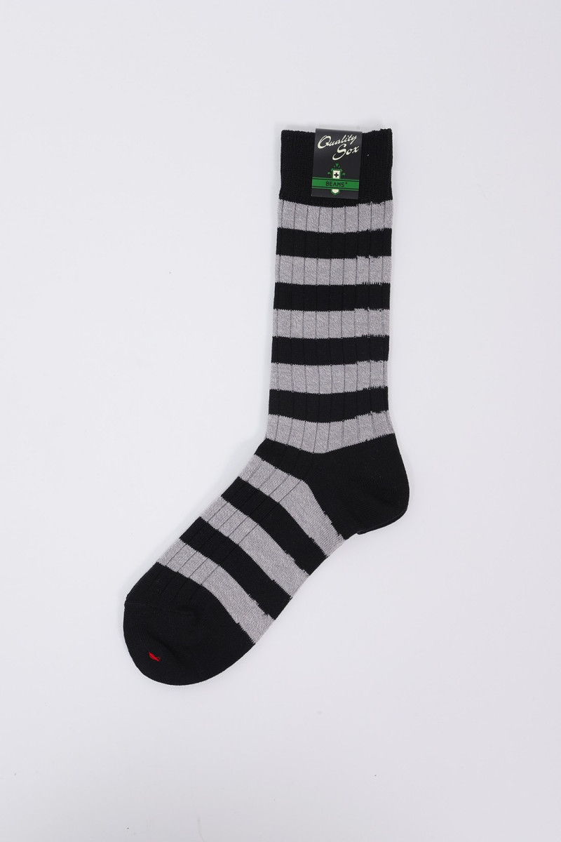 Rib stripe socks New navy