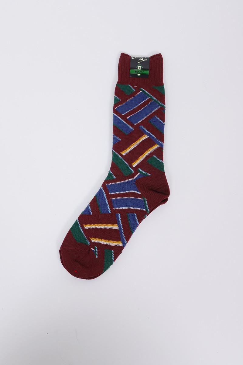 Regimental multi pattern socks Wine crazy