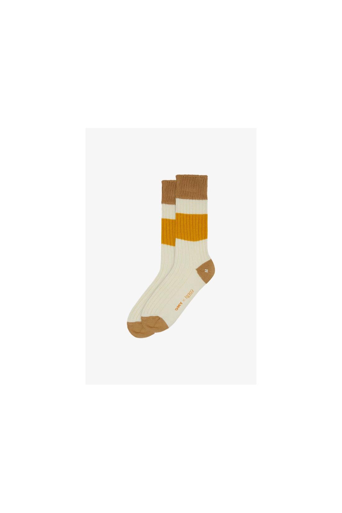 YMC / Sport cotton rib sport socks Ecru / sand