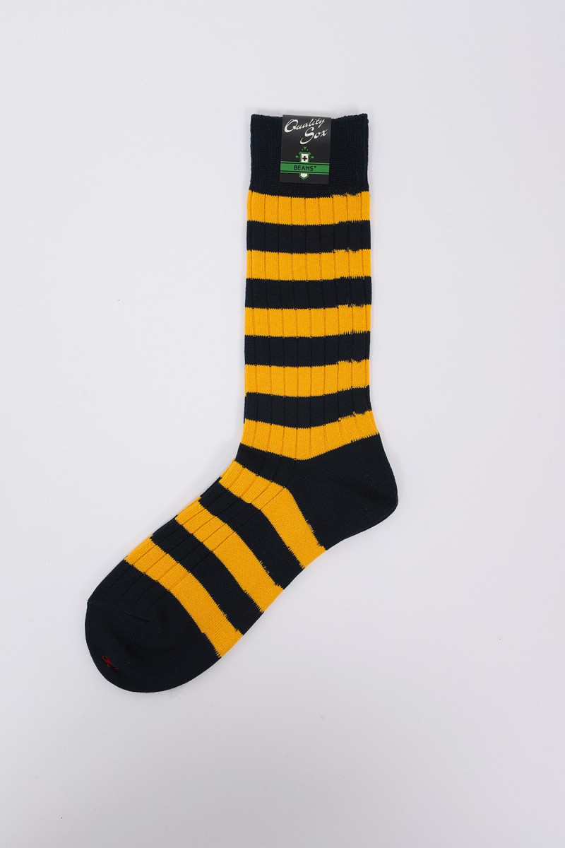 Rib stripe socks Navy / mary gold