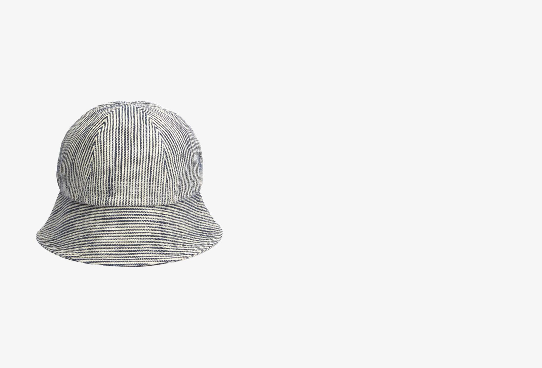 YMC / Gilligan hickory stripe hat Navy