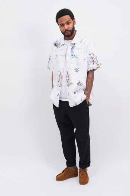 Classic fit s/s shirt printed White multi