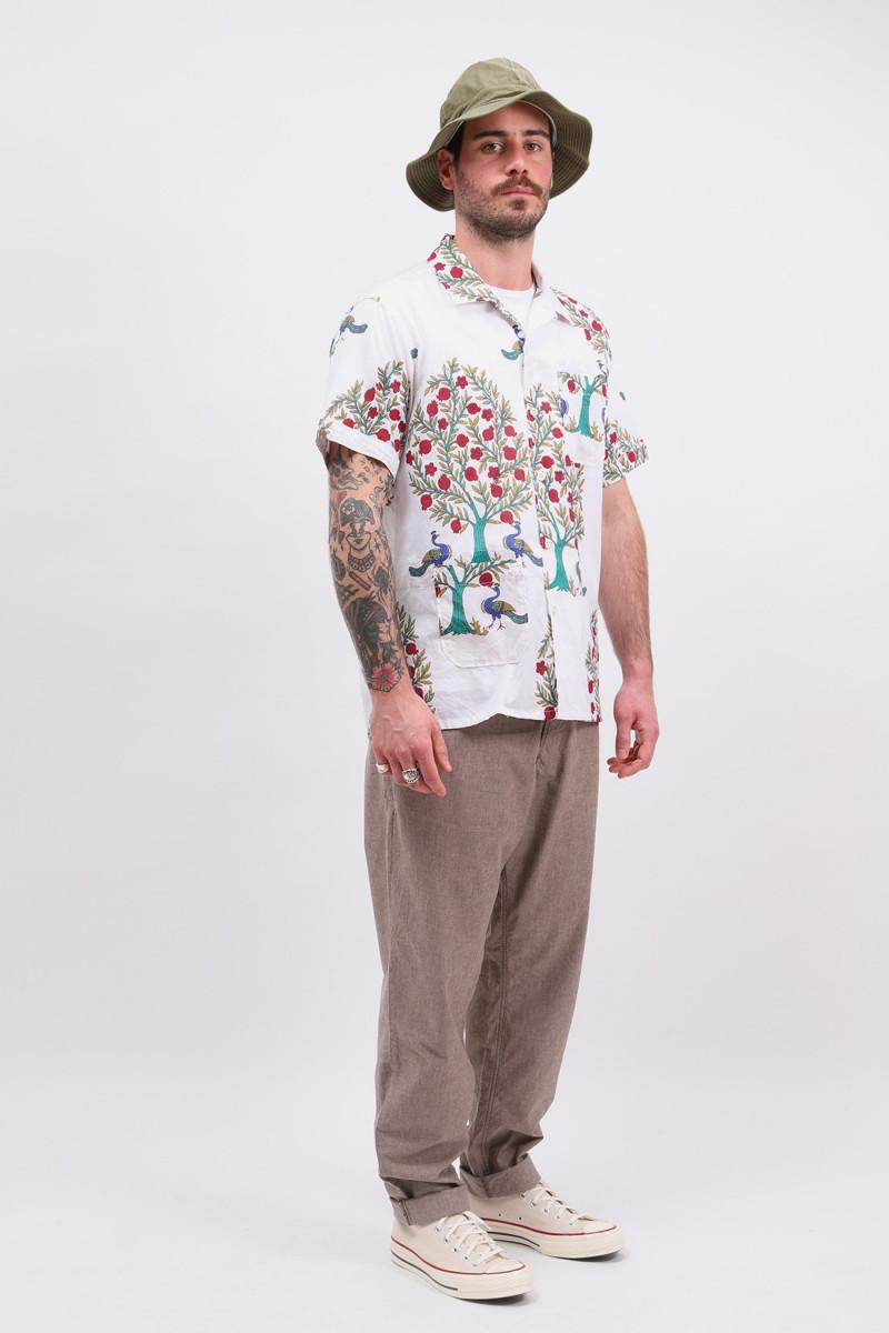 Camp shirt s/s cotton lawn Peacock print