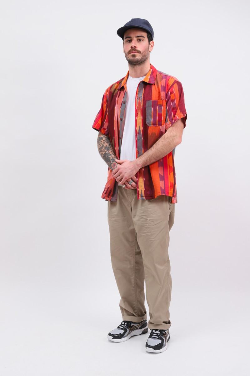 Camp shirt s/s cotton ikat Red/orange