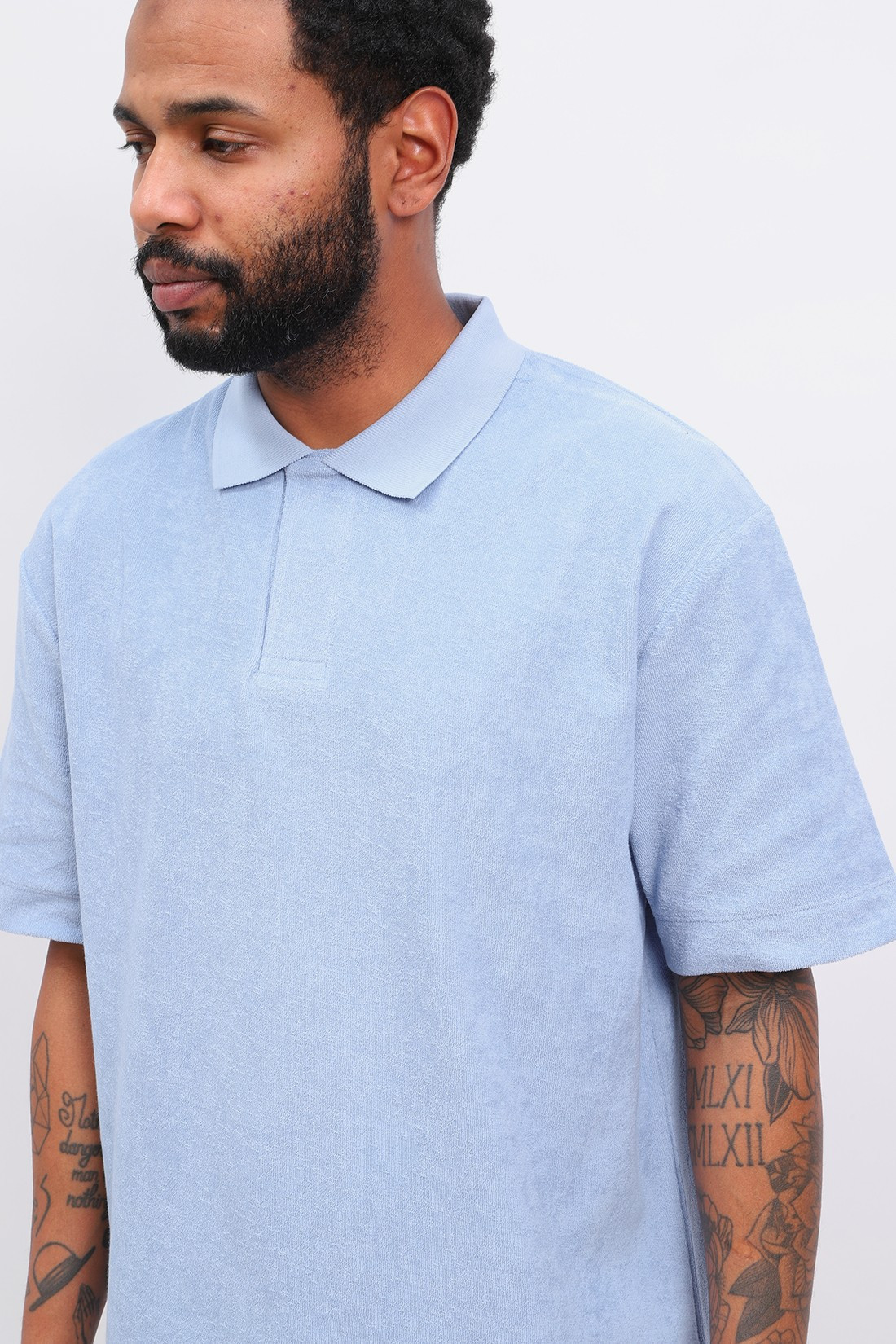 SUNSPEL / Ss terry polo Washed denim