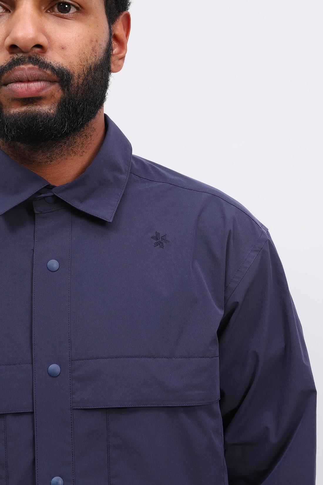 GOLDWIN / Square box coach shirt Navy