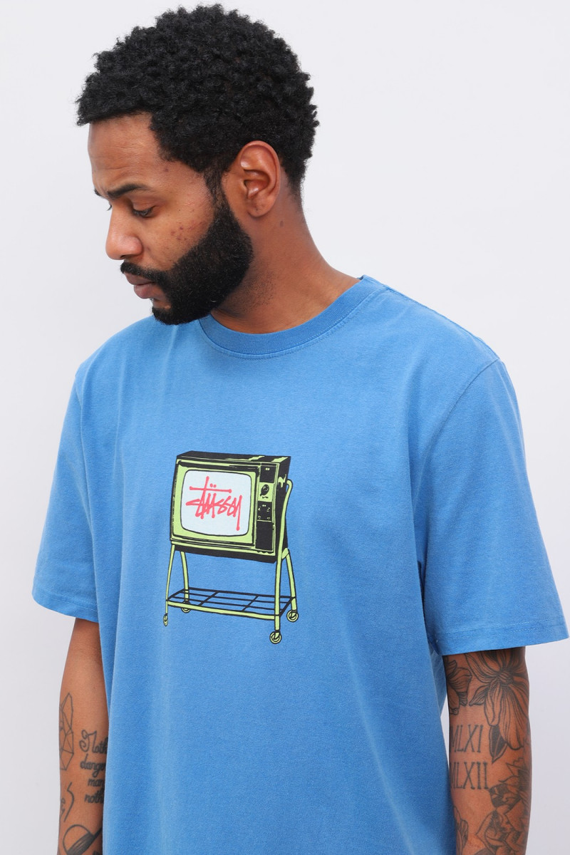 Rolling tv pig. dyed tee Blue