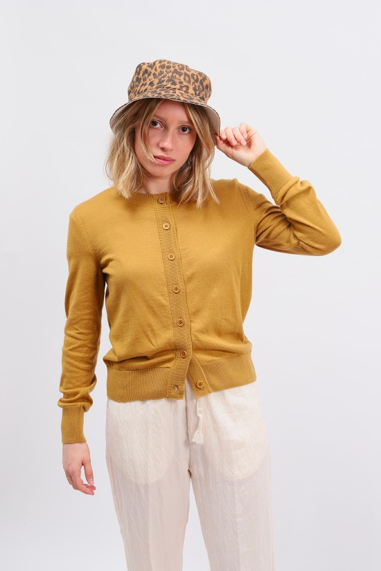 A.P.C. FOR WOMAN / Cardigan ninh Moutarde
