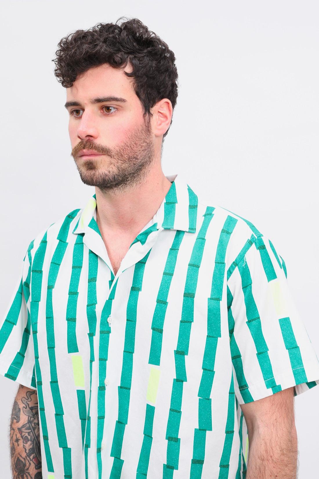 GITMAN / Camp shirt stripe print Green