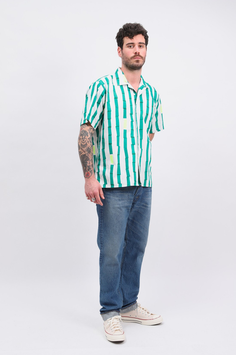 Camp shirt stripe print Green