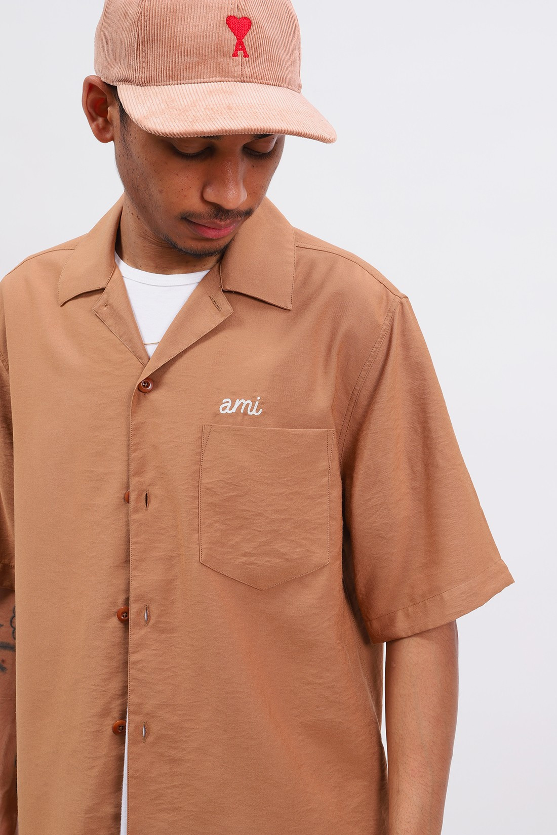 AMI / Chemise broderie ami Beige