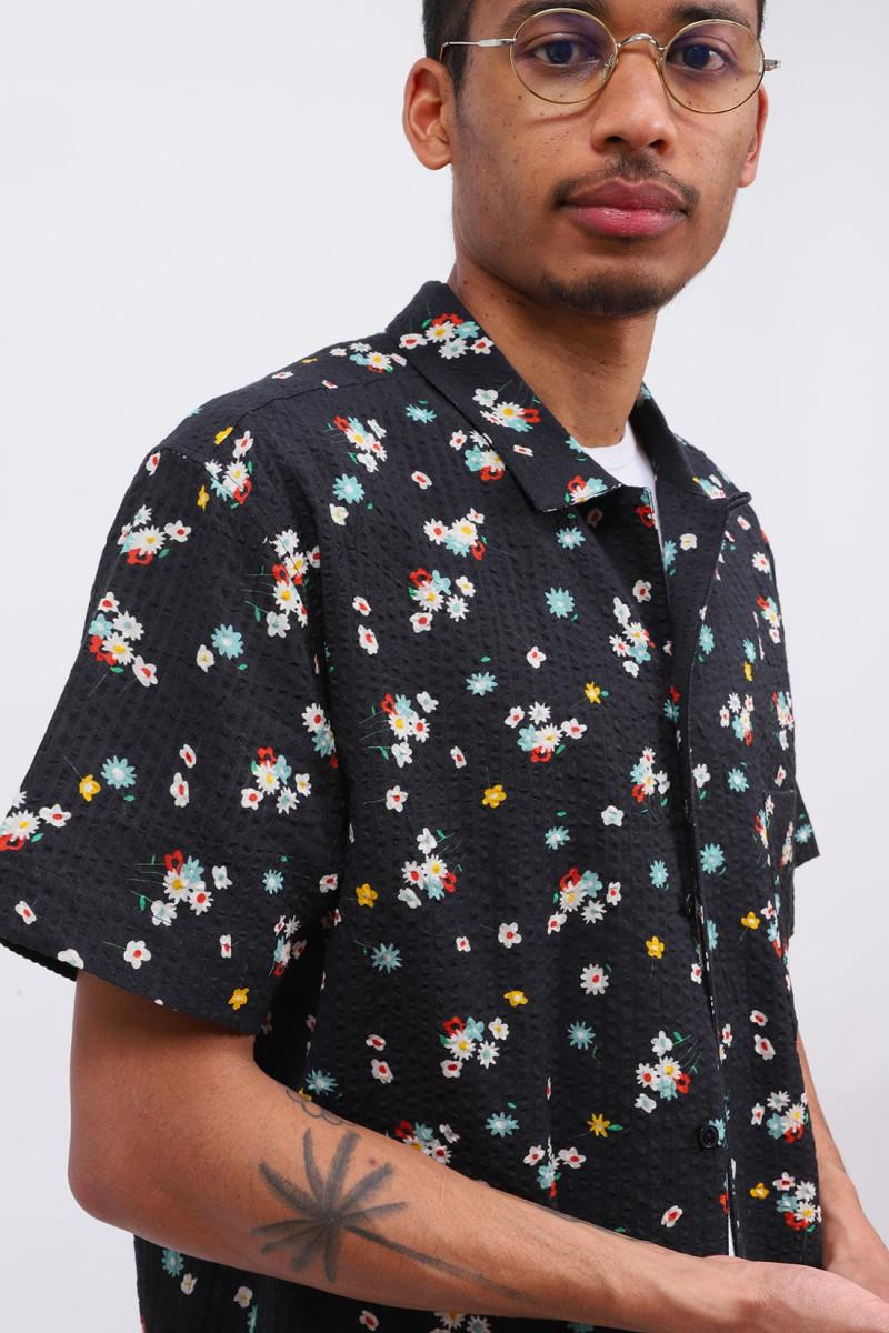 Malick floral seersucker shirt Black