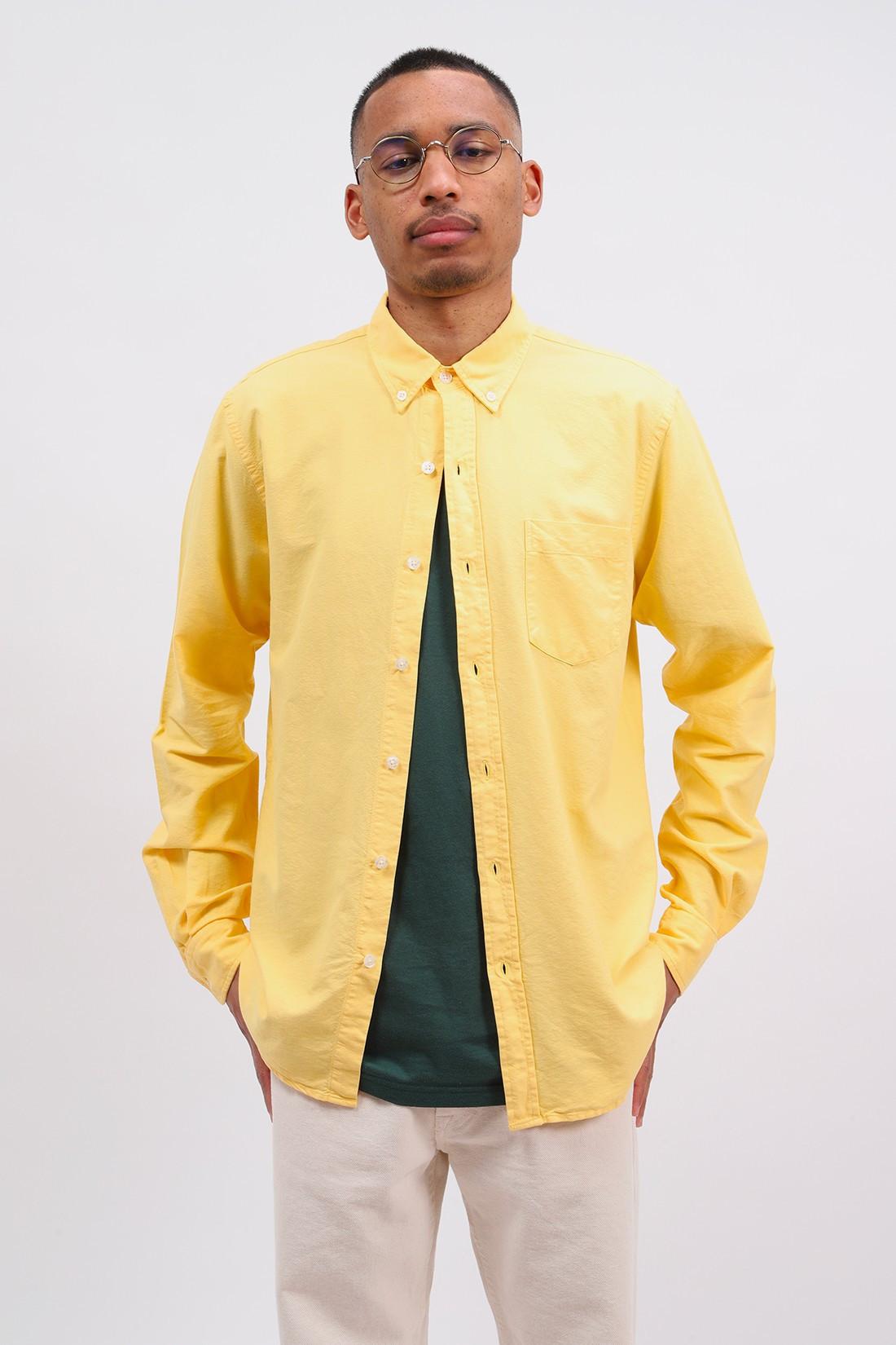 COLORFUL STANDARD / Organic button down shirt Lemon yellow