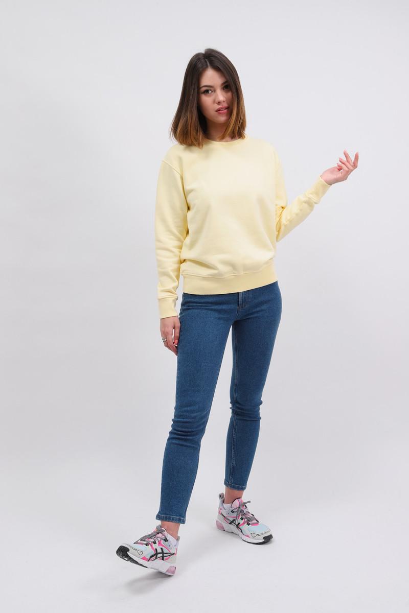Women classic organic crew Soft yellow