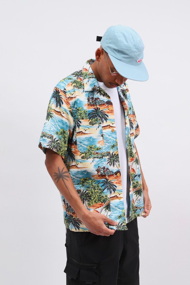 Five pocket poplin shirt Island print