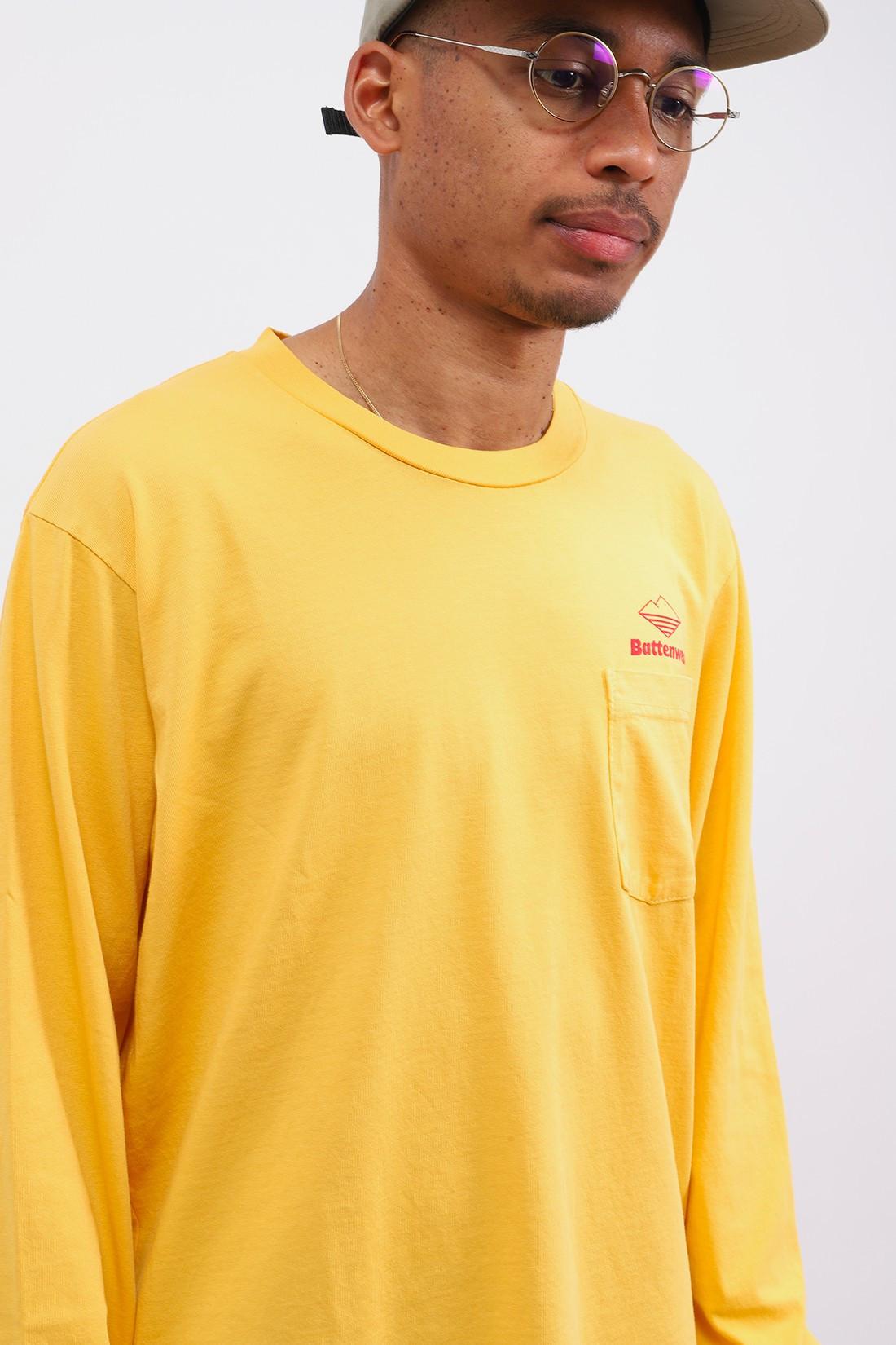BATTENWEAR / Team l/s basic pocket tee Mustard