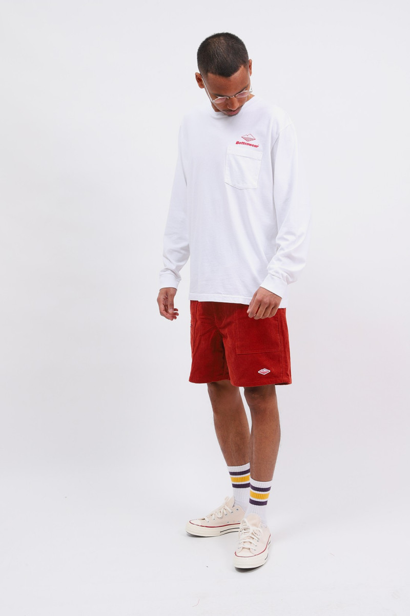Team l/s basic pocket tee White