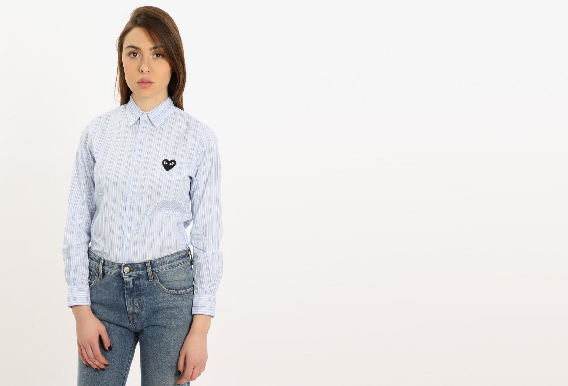 COMME DES GARÇONS PLAY WOMAN / Play striped shirt Blue