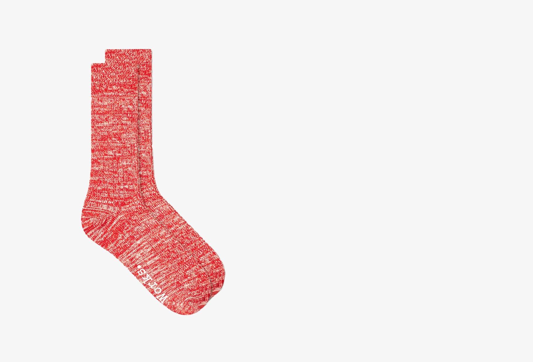 UNIVERSAL WORKS / Slub sock Red